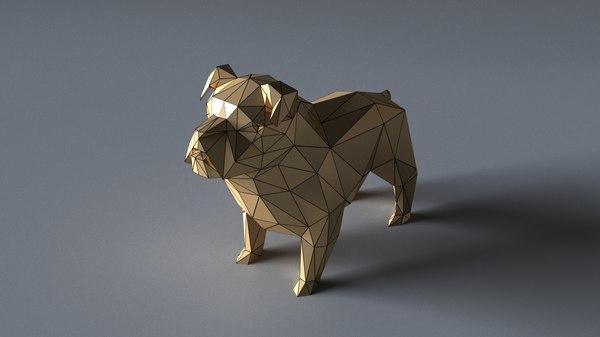 3D bulldog sculptures