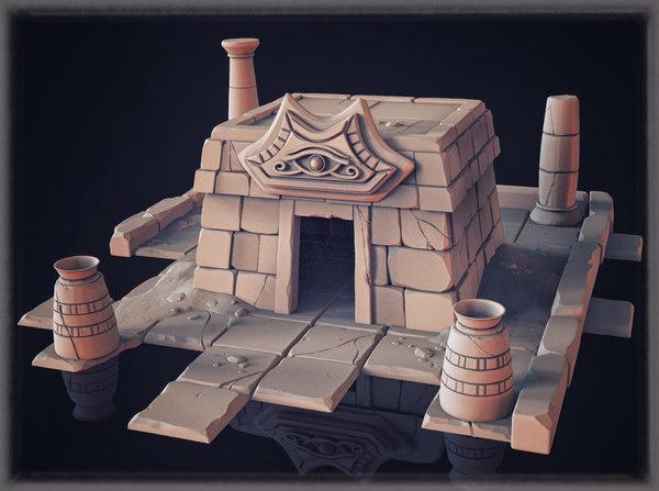 3D temple zbrush model