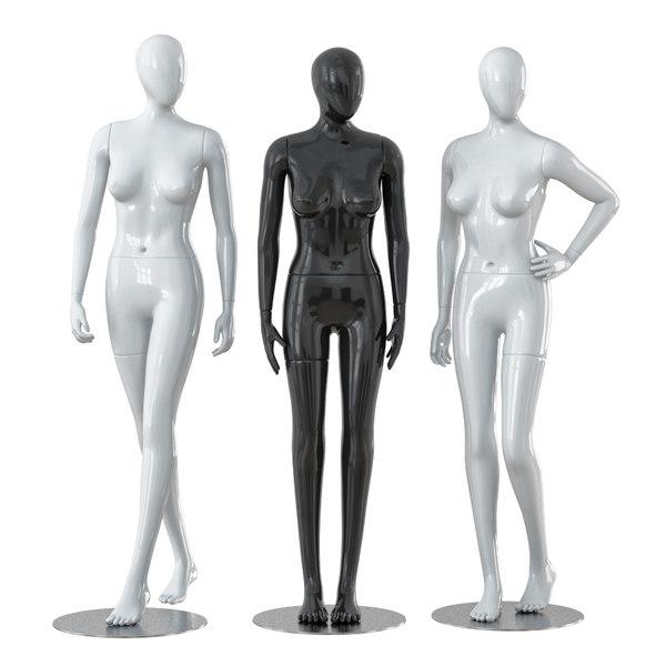 3D faceless female mannequins model