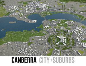 3D city canberra surrounding -