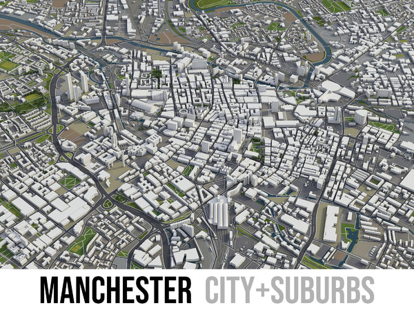 3D city manchester surrounding -