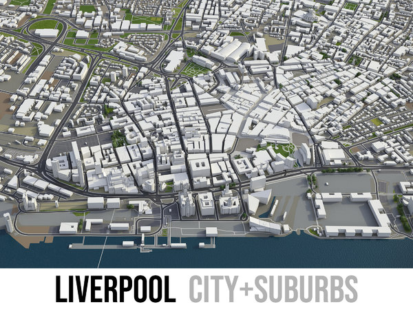 city liverpool surrounding - 3D model