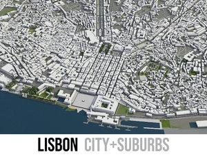 3D city lisbon surrounding - model