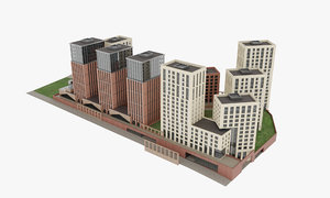 architecture brick residential complex model