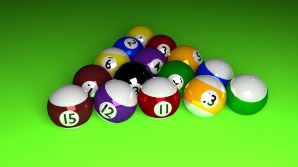 3D snooker ball set