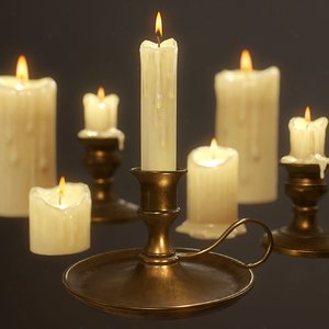 3D candles pack ready pbr