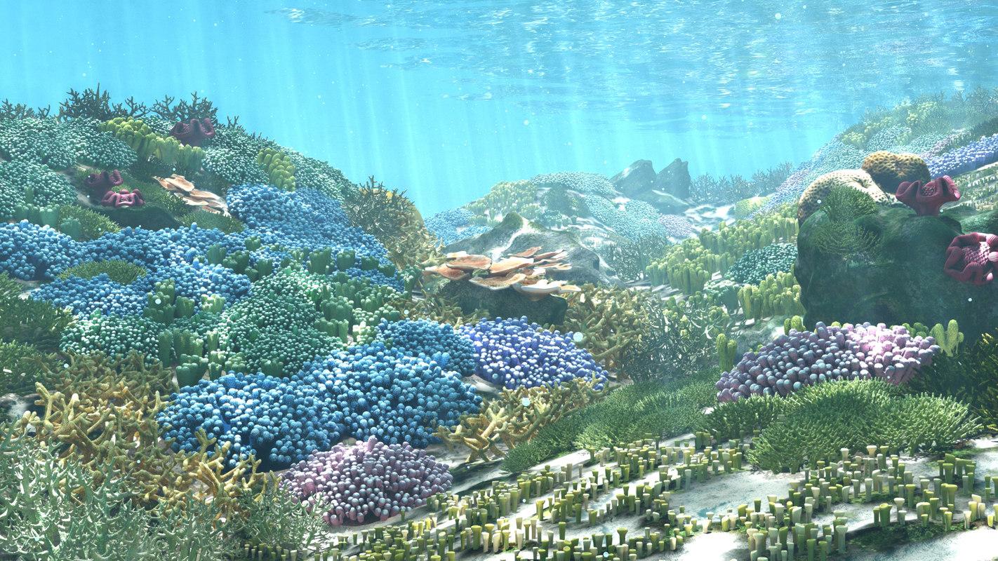 cartoon underwater scene rigged animated 3d model - HD1422×800