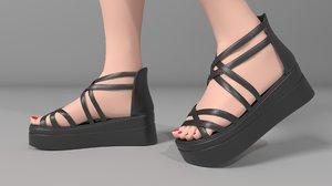 s sandals women heel shoes 3D