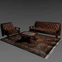 3D set armchairs living room model