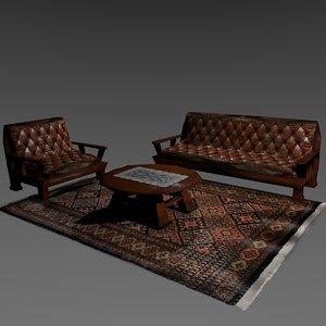3D set armchairs living room model