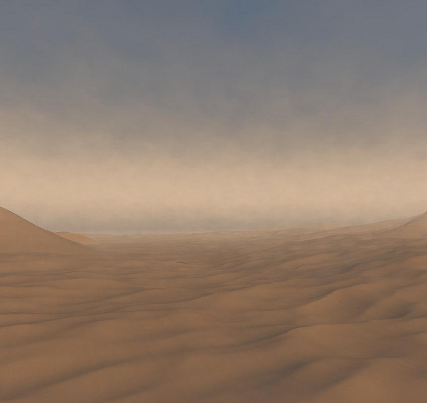 3D desert sand landscape terrain model