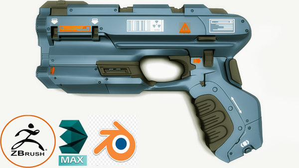 pistol1 low-poly 3D model
