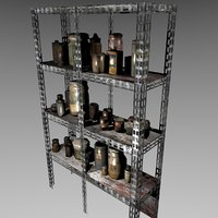 Creepy shelving with jars and cans