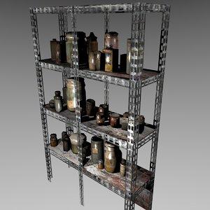 creepy shelving cans glass jars 3D