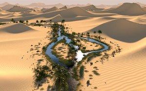 long oasis desert scene 3D model