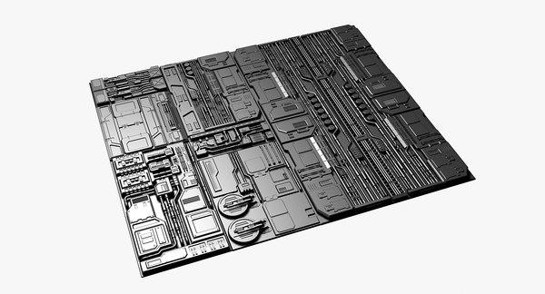 science fiction panels 3D model