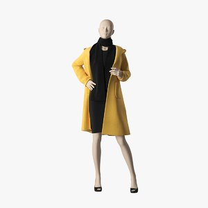 3D model realistic woman mannequin coat