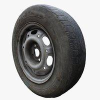 old car wheels 3D model