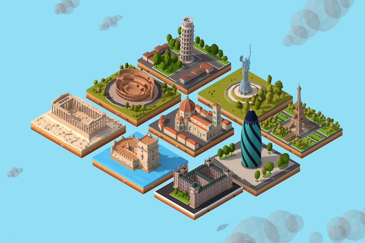3D cartoon europe landmarks ar