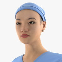 asian female surgeon rigged 3D