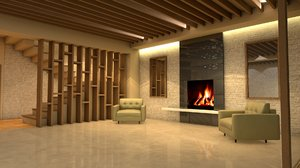 3D model luxury house interior