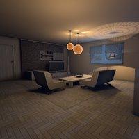3D living room deluxe night