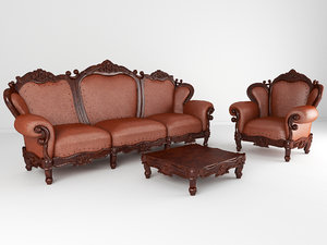 3D set luxurious furniture sofa