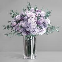 rose flower vase lavender 3D model
