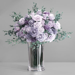 rose flower vase lavender 3D model