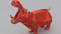 hippo lowpoly 3D print model Low-poly 3D model