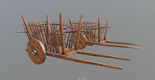 3D medieval wooden cart