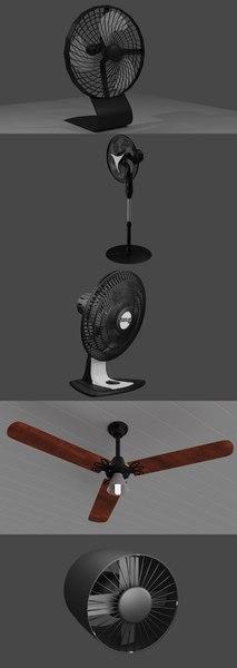 5 fans 3D model