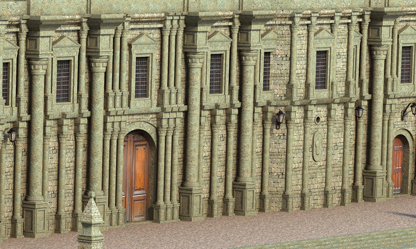 3D building facade classic model