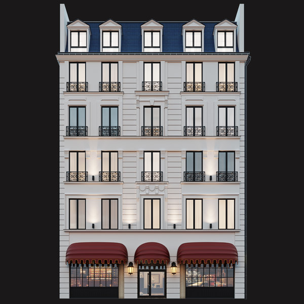 3D classic hotel facade