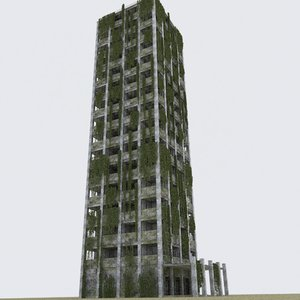 3D post apocalypse building model