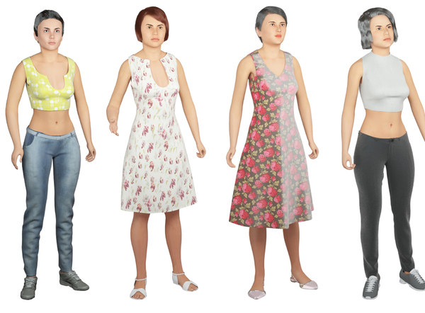 real cloths difference animation character model