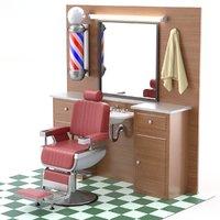 3D model barber shop scene