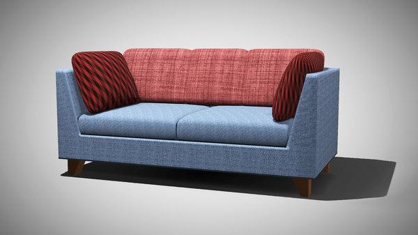 3D seated blue sofa