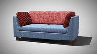 Two Seated Blue Sofa