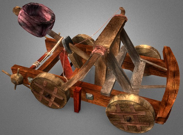 3D weaponry catapult projectile model