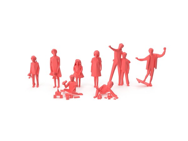 kids crowd people 3D model