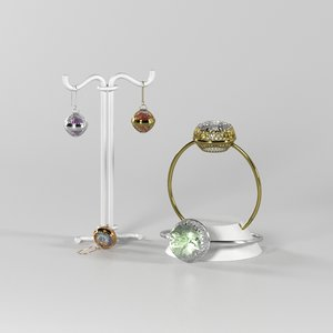 set jewelry old ring 3D model
