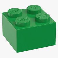 3D model lego brick 2x2 earth