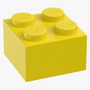 lego brick 2x2 flame 3D