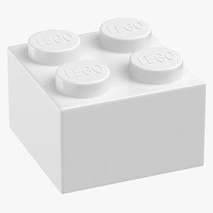 3D lego brick 2x2 white model
