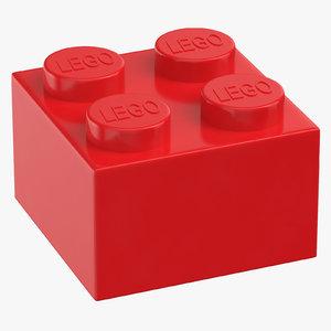 3D model lego brick 2x2 bright