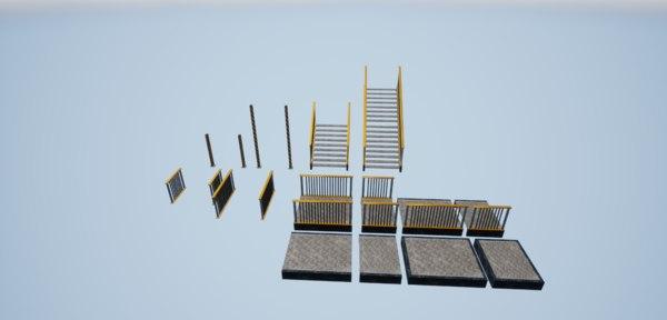 3D metal stairs model