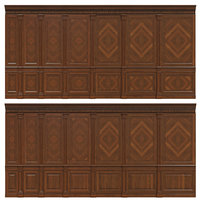 wooden panels veneer interiors 3D model