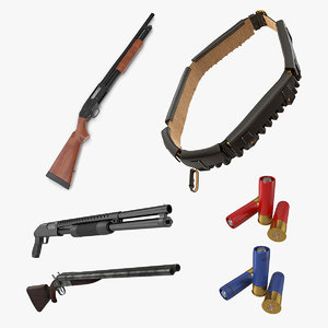 hunting 2 barrel shotgun 3D model
