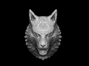 wolf head sculpture model